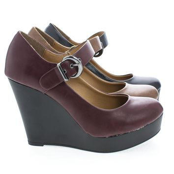 Breezie Mary Janes Round Toe Platform Wedge Heels