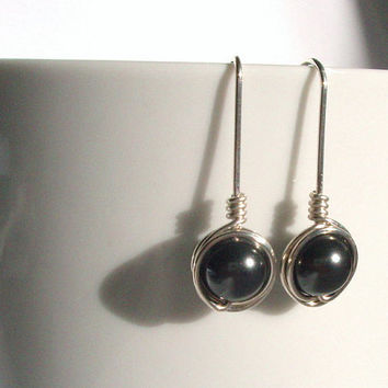 Crystal Black Pearl Earings, Wire Wrapped Jewelry Handmade, Black Silver Swarovski Pearl Drop Earring