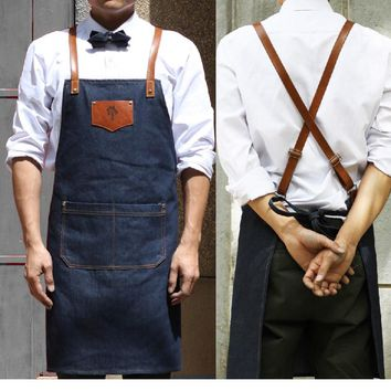 new kitchen denim apron Antifouling clean Delantal Unisex chef work pinafore sleeveless Avental Leather Haircut  Barber aprons