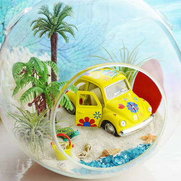 "LOVE BUG Beach Terrarium ~  Palm Trees ~  VW Beetle Yellow Car ~ Air plants ~ 7"" Glass Round Globe ~ Beach Decor ~ Great Gift Idea"