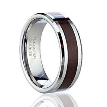 8mm Wedding band Tungsten Carbide Ring with Wood Inlay