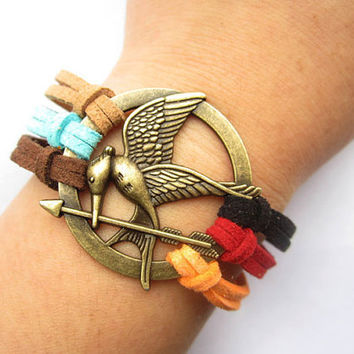 Mockingjay inspired Bracelet---antique bronze The hunger game style pendant & colorful rope chain