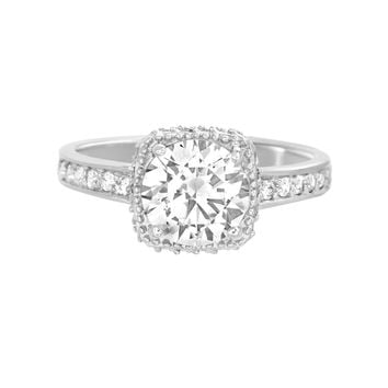 Cushion Shaped Setting Engagement Wedding Ring for Women made with Swarovski Crystal in 925 Sterling Silver