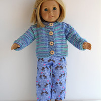 American Girl Doll Ocean Blue Hand Knit Cardigan, Handmade Sweater with Wood Buttons, Clothes in Colors of the Sea for 18 Inch Dolls
