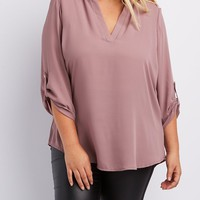 Plus Size Caged Shoulder Split Collar Blouse