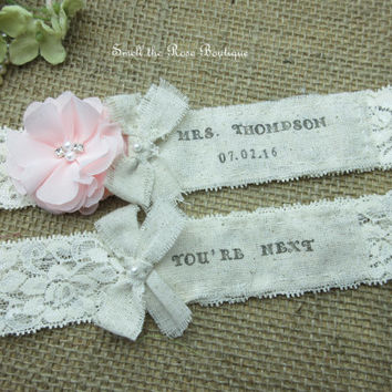 Personalized Monogrammed Wedding Garter Set ,Rustic Country Chic Wedding Garter Set,Wedding Garters