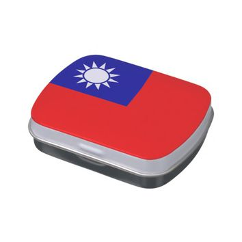 Patriotic candy tins with Flag of Taiwan