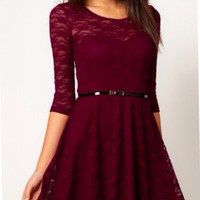 Natty - Wine Red Dress with belt