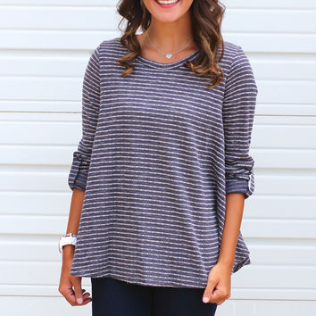 Striped Flare Top {Grey}