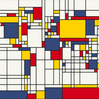 Abstract Mondrian Style World Map