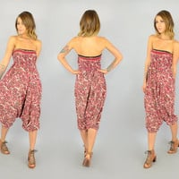 90's PAISLEY + FLORAL Harem hippie India Cotton ethnic smocked JUMPSUIT, extra small-medium