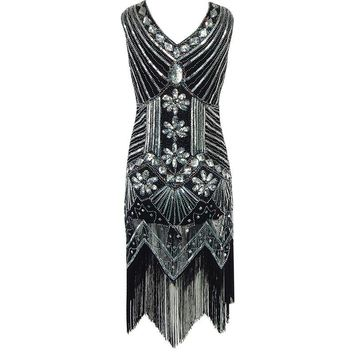 European 1920s Vintage Beaded Sequin Tassel V-neck Flapper Dress  Dress