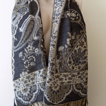 Pashmina Scarf Shawl Black -gold Pashmina Oversize Scarf Large Scarf Spring Scarf Women Fashion Accessories Gift Ideas For Her For Mom