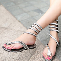 Winding Diamond Thong Flat Sandals B007562