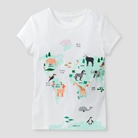 Girls' Animals Around the World Graphic Tee Cat & Jack™ - White Sand