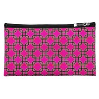Hot Pink & Black Geometric Print Makeup Bag