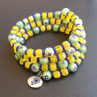 memory wire wrap bracelet - spring colors millefiori and Czech crackle glass with lead-free silver pewter flower play charm