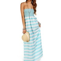 Mint Sleeveless Stripe Maxi Dress