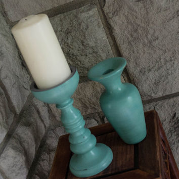 Wooden Candle Holder and Vase, Hand Painted