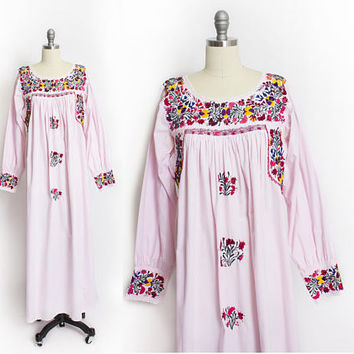 Vintage 1970s Dress - Mexican Embroidered PINK Cotton Long Sleeve floral Folk Figures Ethnic Maxi Tent Dress