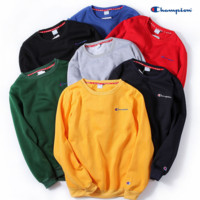 Champion Embroidery round collar sweater thickening sweater(7-color)