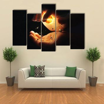 Solar System In Two Hands Art Multi Panel Canvas Wall Art