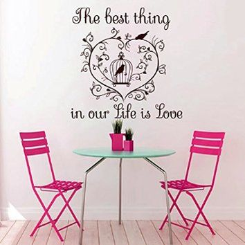 Wall Decals The best thing in our Life is Love Quote Decal Vinyl Sticker Heart Bedroom Home Decor Wedding Salon Room Dorm Art Murals MN322