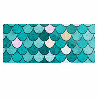 """Famenxt """"Mermaid Fish Scales"""" Teal Nautical Illustration Luxe Rectangle Panel"""