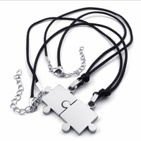 Men,Women's 2PCS Stainless Steel Pendant Necklace Silver Jigsaw Puzzle Love Valentine's Couples His & Hers Set Valentine Gift silver gold
