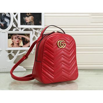 Gucci Classic Fashionable Women Leather Daypack Backpack Bookbag Red