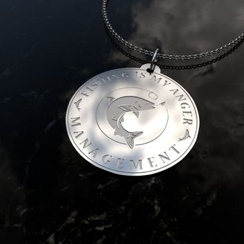 Custom Engraved [Fishing] Sterling Silver Pendant Necklace