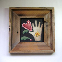 Tole Painted Folk Art Primitive Heart and Hand Design in Rustic Barn Wood Frame