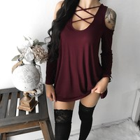 Mia Caged Off Shoulder Sweater (WINE)