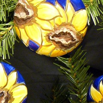 Ceramic Sunflowers Ornament Set