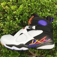 "Air Jordan 8 Retro ""Three Peat"" white/black Basketball Shoes 40-46"