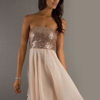 Bronze Glitter Strapless Chiffon Mini Dress