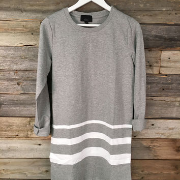 TERRY COTTON OVERSIZED DRESS - GREY