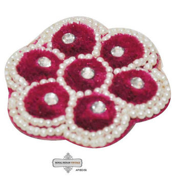 Pink Craft Applique Indian Floral Design Velvet Fabric Pearl Handcrafted Patches 2 Pcs AP/BD/56