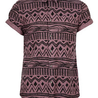 Burgundy Black Aztec Print Short Sleeve Shirt - Men's Shirts - Clothing - TOPMAN USA