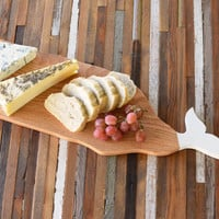 Rustic Oak, Whale cutting board, solid wood, handmade, hand painted, serving tray, cheese board, nautical cutting board,