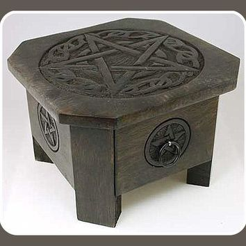 Celtic Pentagram Altar Table with Drawer