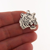 5 Tiger charms, tiger charm, tiger head charms, tiger head charm, tiger heads, silver tigers, circus charms, jungle charms, zoo charms