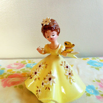 Josef Originals Yellow Girl Figurine With Daisies and Butterfly, Girl With Daisies, Butterfly Girl, Yellow Spring Figurine