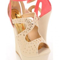 Beige Coral Faux Suede Rhinestone Studded Strap Wedge