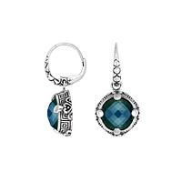 AE-6232-LBT Sterling Silver Round Earring With London Blue Topaz