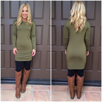 Martini Holiday Tunic Dress - OLIVE