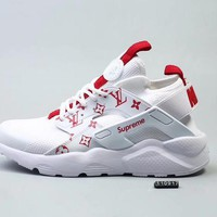 DCCK N282 Nike Huarache X Lv X Supreme Flyknit Running Shoes White Red