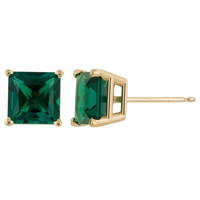 Perfect 14K Gold 2CT Princess Cut Emerald Green Earrings