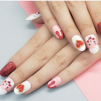 New 3D 24Pcs Cute Pink Heart Pattern Fake Nails Tips Solid Glitter Medium Oval Full Cover False Nails With Glue Sticker