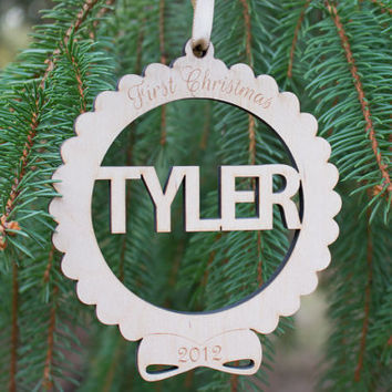 Personalized Christmas ornament , Baby's First Christmas Ornament ,  Custom Name Christmas ornament , laser cut wooden engraved ornament